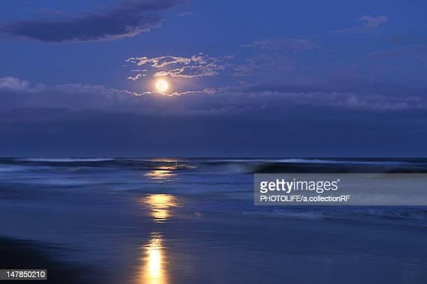 Kujukuri beach and full moon, Chiba Prefecture, Honshu, Japan