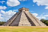 North-west view of the El Castillo (Temple of Kukulkan). El Castillo, also known as the Temple of Kukulcan, is a Mesoamerican step-pyramid that dominates the center of the Chichen Itza archaeological