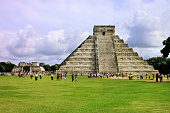 Temple of Kukulkan mayan Pyramid in Chichen Itza Site, Yucatan, Mexico. One of the new 7 wonders of the world.