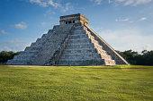 Kukulkan Pyramid at Chichen Itza, Mexico (sunset)