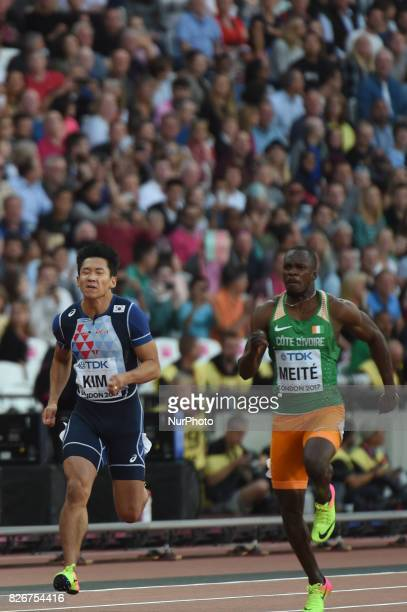 Kukyoung KIM South Korea and Ben Youssef MEITÉ COTE D'IVOIRE during 100 meter semifinal at London Stadium in London on August 5 2017 at the 2017 IAAF...