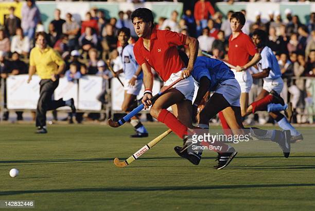 Kulbir Bhaura of England during the international match against India on 6th October 1985 at the National Hockey Centre Willesden Stadium in London...