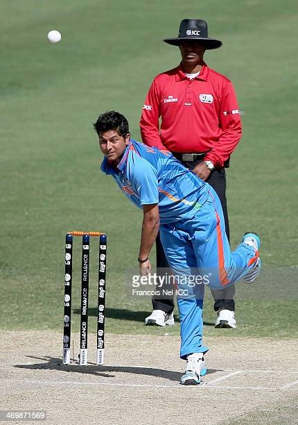 Kuldeep Yadav of india bowls during the ICC U19 Cricket World Cup 2014 match between India and Scotland at the Dubai Sports City Cricket Stadium on...