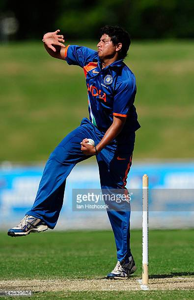 Kuldeep Yadav of India bowls during the match between Australia and India on day two of the U19 International Quad Series at Tony Ireland Stadium on...