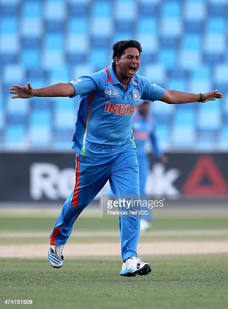 Kuldeep Yadav of India celebrate the wicket of Joe Clarke of England during the ICC U19 Cricket World Cup 2014 Quarter Final match between England...