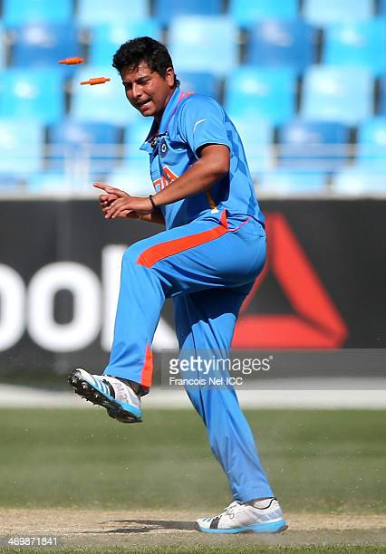Kuldeep Yadav of India in action during the ICC U19 Cricket World Cup 2014 match between India and Scotland at the Dubai Sports City Cricket Stadium...