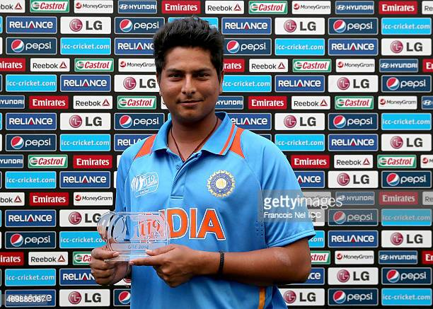 Kuldeep Yadav of India poses for a picture with his man of the match trophy after the ICC U19 Cricket World Cup 2014 match between India and Scotland...
