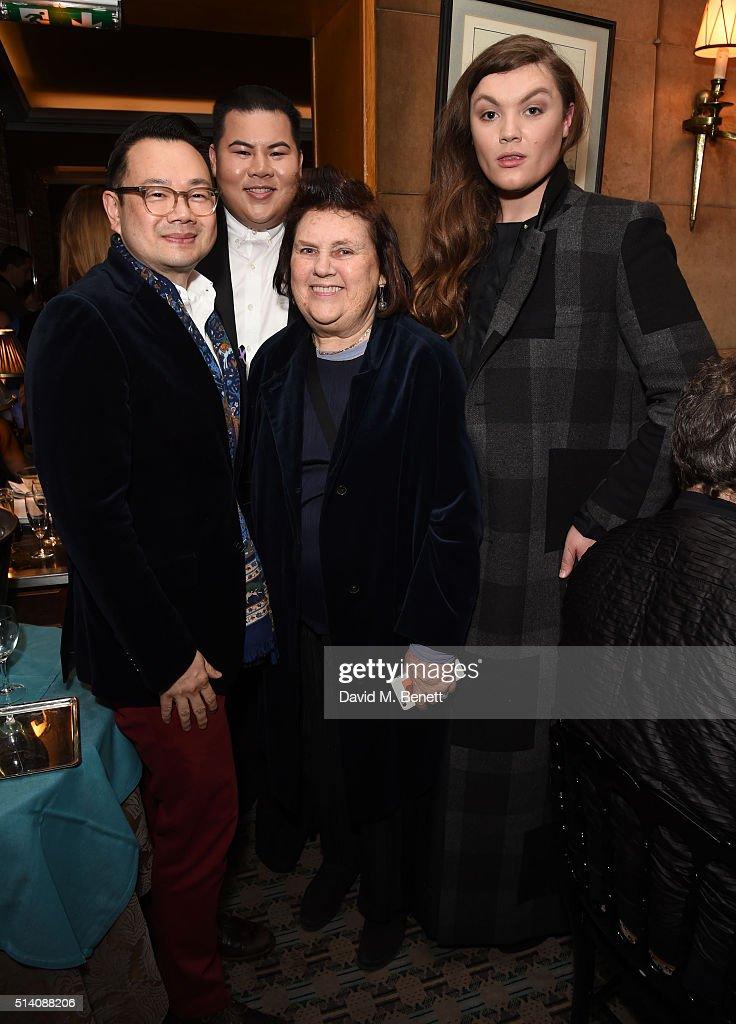 Kullawit Laosuksri Sorapol Chawaphtnakul Suzy Menkes and Daniel Lismore attend the Vogue Thailand x Sorapol drinks reception and dinner during Paris...