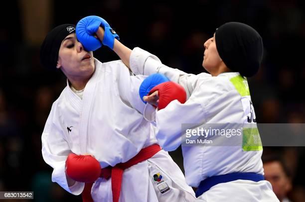 Kulsoom Kulsoon of Pakistan competes against Hala Traish of Jordan in the Womens Karate Kumite 69kg bronze medal match during day three of Baku 2017...