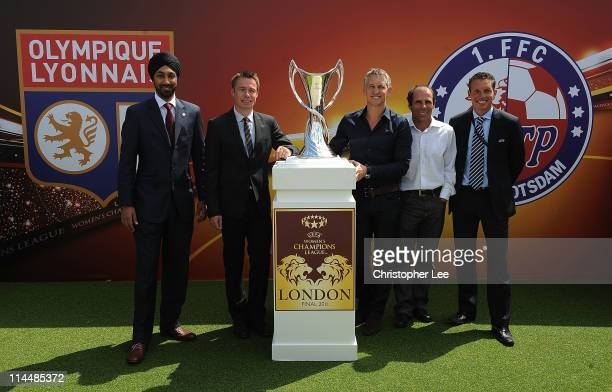Kulveer Ranger Graeme Le Saux Gary Lineker Gianfranco Zola UEFA Head of Club Competitions Micheal Heselschwerdt pose with the Women's UEFA Champions...