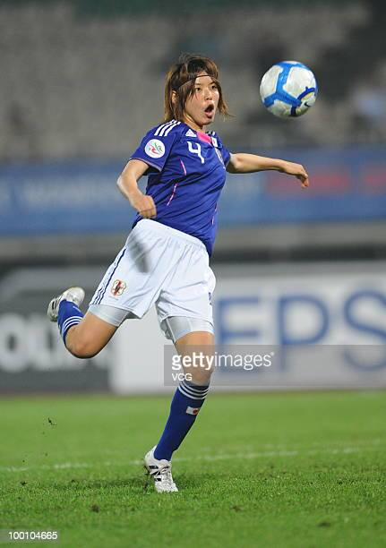 Kumagai Saki of Japan shoots a ball during the group round 2010 AFC Women's Asian Cup between Japan and Burma on May 20 2010 in Chengdu Sichuan...