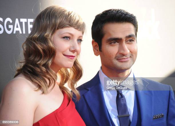 Kumail Nanjiani and Emily V Gordon arrive at the premiere of Amazon Studios And Lionsgate's 'The Big Sick' at ArcLight Hollywood on June 12 2017 in...