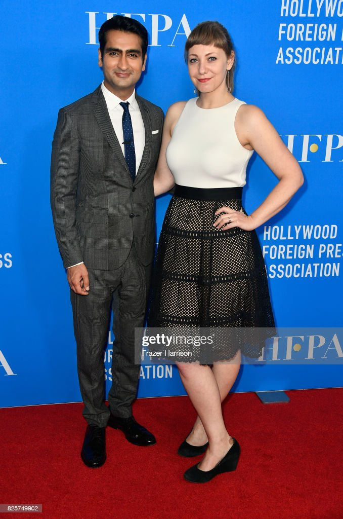 Kumail Nanjiani and Emily V. Gordon attend the Hollywood Foreign Press Association's Grants Banquet at the Beverly Wilshire Four Seasons Hotel on August 2, 2017 in Beverly Hills, California.