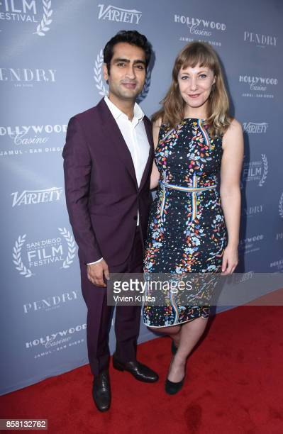Kumail Nanjiani and Emily V Gordon attend the San Diego International Film Festival 2017 on October 5 2017 in San Diego California
