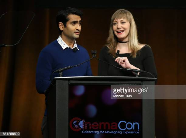 Kumail Nanjiani and Emily V Gordon speak onstage at the CinemaCon 2017 Amazon Studios Delivering The Best In Independent Cinema held at Octavius...