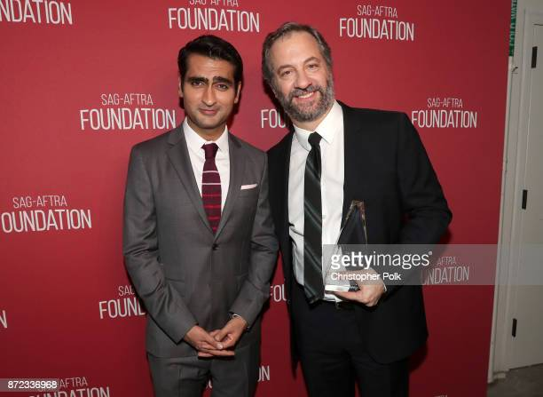 Kumail Nanjiani and Patron of the Artists Award recipient Judd Apatow attend the SAGAFTRA Foundation Patron of the Artists Awards 2017 at the Wallis...