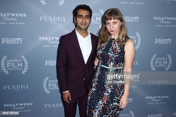 Kumail Nanjiani and wife Emily Gordon arrive at the San Diego International Film Festival's 'Night Of The Stars' at Pendry San Diego on October 5...
