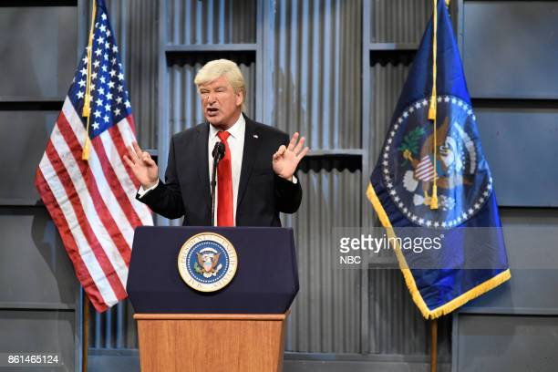 LIVE 'Kumail Nanjiani' Episode 1728 Pictured Alec Baldwin as President Donald J Trump during 'Trucker Rally Cold Open' on Saturday October 14 2017 in...