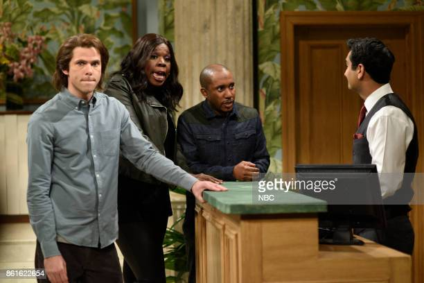LIVE 'Kumail Nanjiani' Episode 1728 Pictured Mikey Day as Mr Abramson Leslie Jones Chris Redd Kumail Nanjiani during 'First Night Home' in Studio 8H...