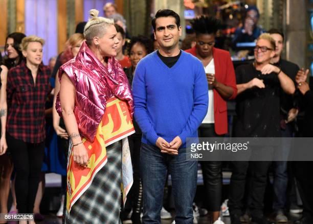 LIVE 'Kumail Nanjiani' Episode 1728 Pictured Pnk Kumail Nanjiani during 'Goodnights Credits' in Studio 8H on Saturday October 14 2017