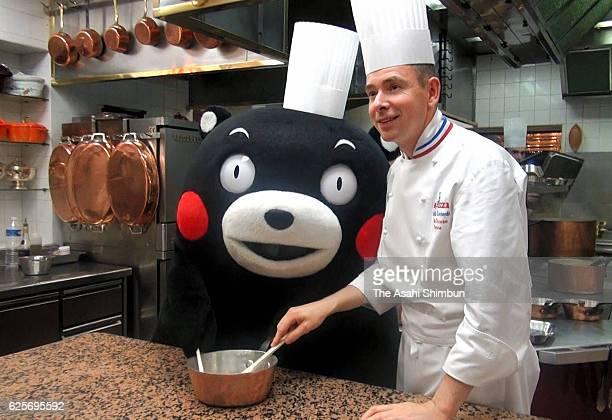 Kumamoto Prefecture mascot Kumamon visits restaurant paul Bocuse on November 24 2016 in Lyon France Kumamon is in France to appreciate support for...