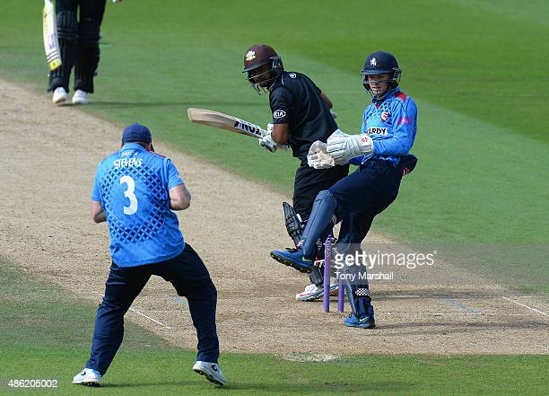 Kumar Sanakkara of Surrey is caught out by Darren Stevens of Kent during the Royal London OneDay Cup Quarter Final match between Surrey and Kent at...