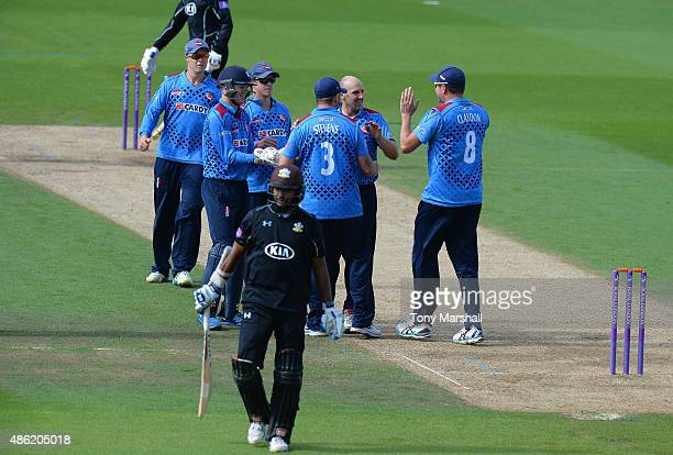 Kumar Sanakkara of Surrey walks off after being caught out by Darren Stevens of Kent from the bowling of James Tredwell of Kent during the Royal...