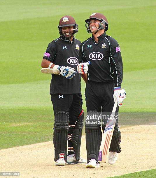 Kumar Sangakara and Jason Roy of Surrey during the Royal London One Day Cup match between Surrey and Worcestershire at the Kia Oval Cricket Ground on...