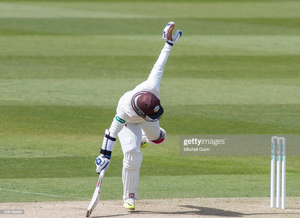 Kumar Sangakara of Surrey gets twisted up off the bowling of Ben Stokes of Durham during the Specsavers County Championship Division One match between Surrey and Durham at the Kia Oval Cricket Ground, on May 01, 2016 in London, England.