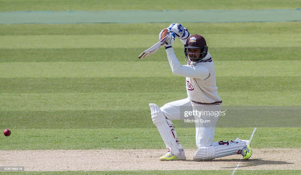 Kumar Sangakara of Surrey plays a shot during the Specsavers County Championship Division One match between Surrey and Durham at the Kia Oval Cricket Ground, on May 01, 2016 in London, England.
