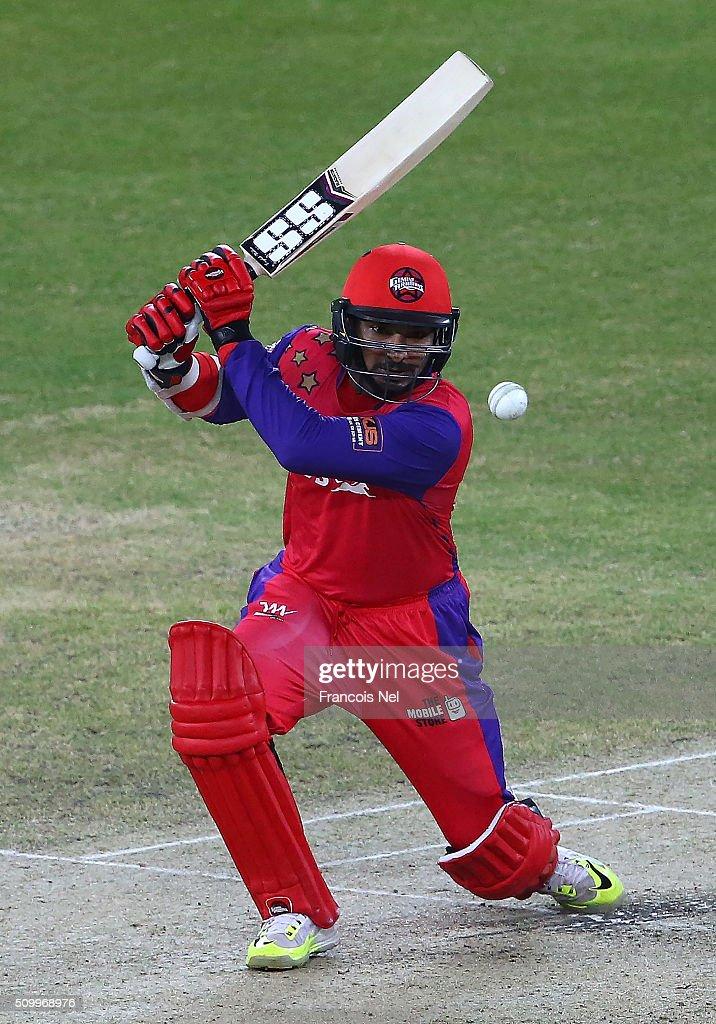 Kumar Sangakarra of Gemini Arabians bats during the Final match of the Oxigen Masters Champions League between Gemini Arabians and Leo Lions at the Dubai International Cricket Stadium on February 13, 2016 in Dubai, United Arab Emirates.