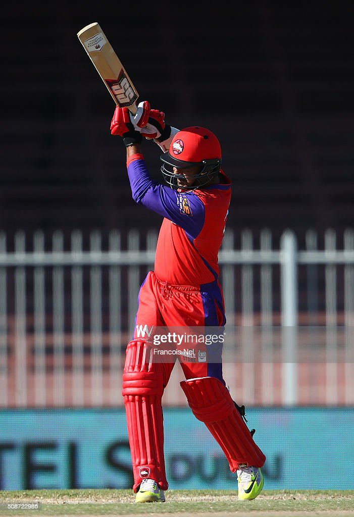 Kumar Sangakarra of Gemini bats during the Oxigen Masters Champions League match between Gemini Arabians and Virgo Super Kings on February 6, 2016 in Sharjah, United Arab Emirates.