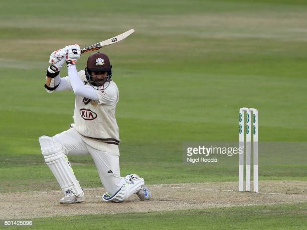 Kumar Sangakarra of Surrey in action during the Specsavers County Championship Division One match between Yorkshire and Surrey at Headingley on June...