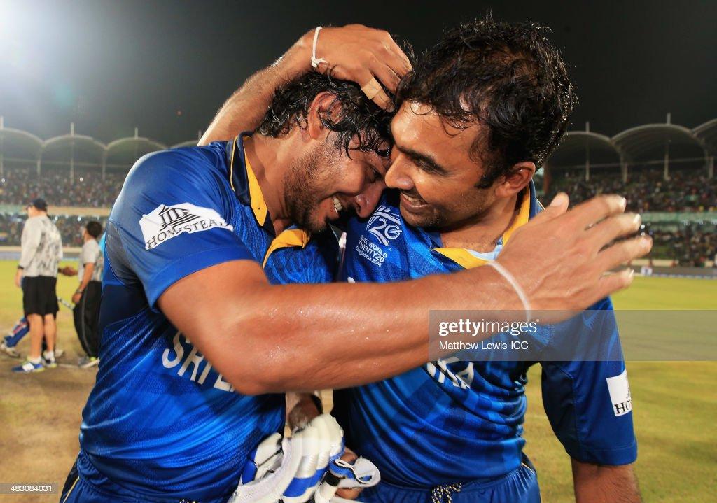 Kumar Sangakkara and Mahela Jayawardena of Sri Lanka celebrate their teams win over India after the ICC World Twenty20 Bangladesh 2014 Final between...