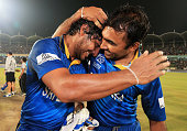 Kumar Sangakkara and Mahela Jayawardena of Sri Lanka celebrate their teams win over India after the ICC World Twenty20 Bangladesh 2014 Final between...