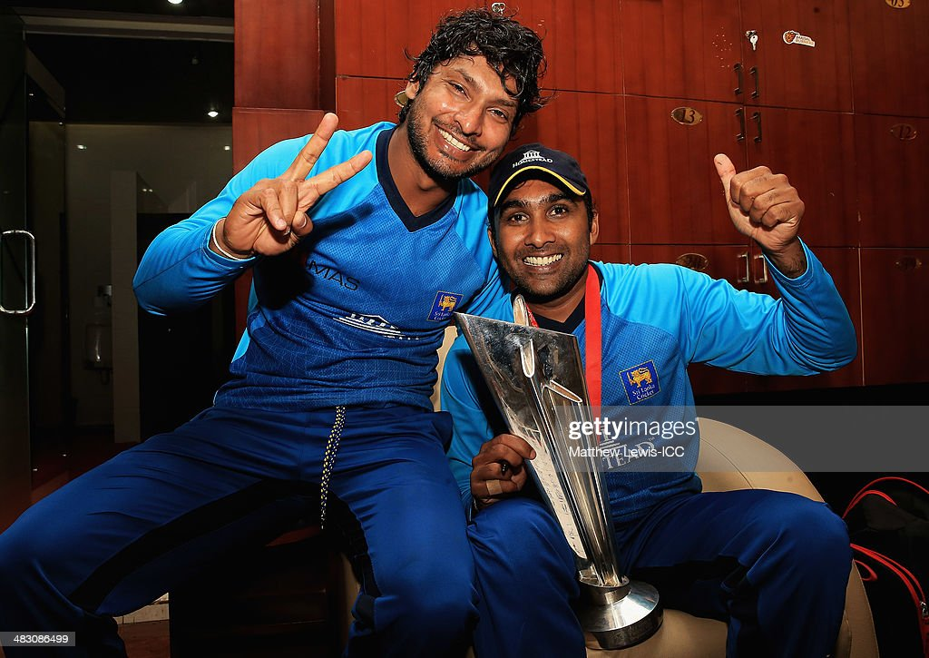 <a gi-track='captionPersonalityLinkClicked' href=/galleries/search?phrase=Kumar+Sangakkara&family=editorial&specificpeople=206804 ng-click='$event.stopPropagation()'>Kumar Sangakkara</a> and Mahela Jayawardena of Sri Lanka celebrate their teams win over India after the ICC World Twenty20 Bangladesh 2014 Final between India and Sri Lanka at Sher-e-Bangla Mirpur Stadium on April 6, 2014 in Dhaka, Bangladesh.