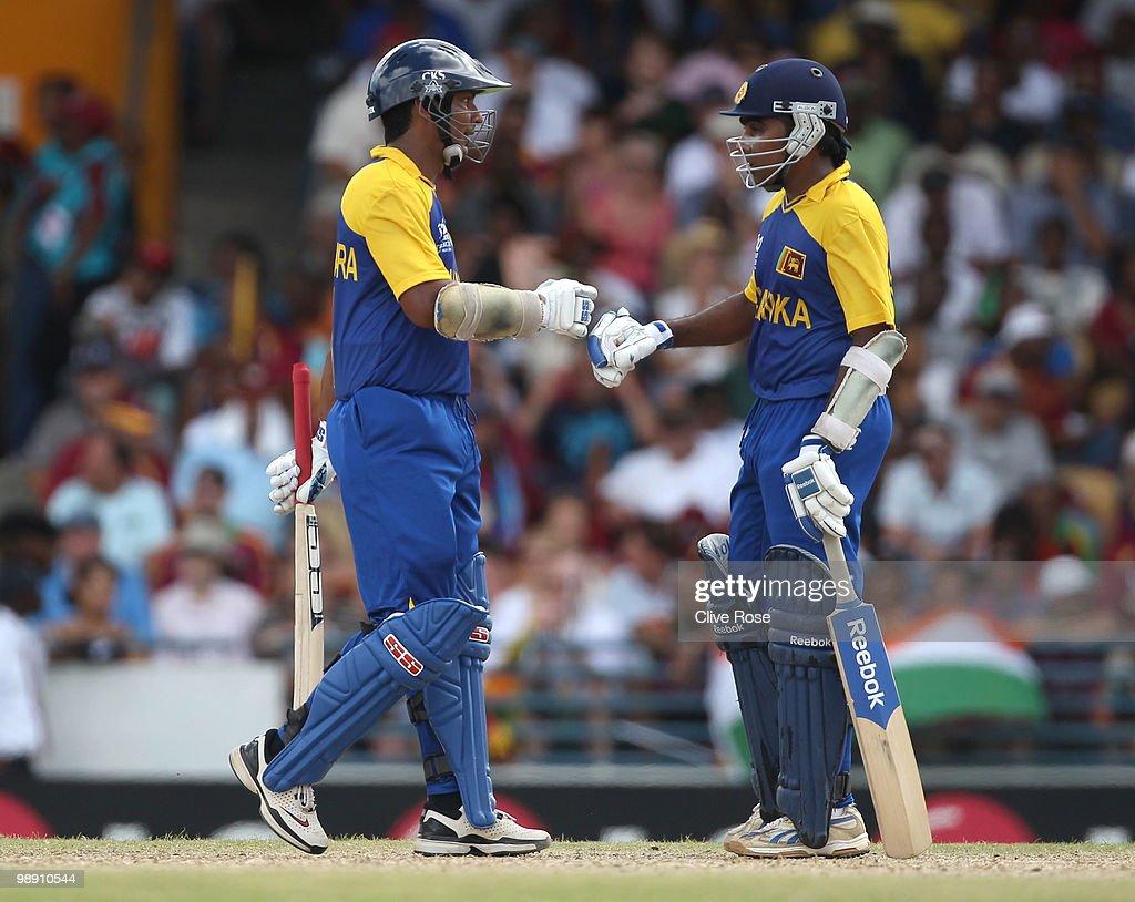Kumar Sangakkara and Mahela Jayawardene of Sri Lanka during the ICC World Twenty20 Super Eight match between West Indies and Sri Lanka at the...