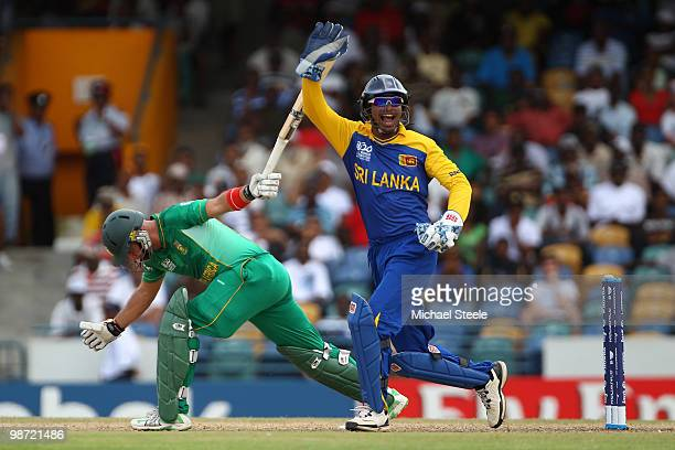 Kumar Sangakkara of Sri Lanka appeals successfullyafter stumping Herschelle Gibbs during The ICC T20 World Cup warm up match between Sri Lanka and...