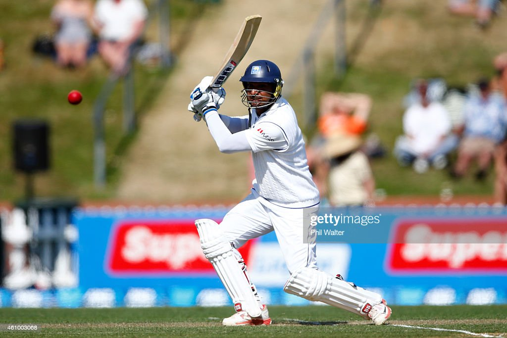 <a gi-track='captionPersonalityLinkClicked' href=/galleries/search?phrase=Kumar+Sangakkara&family=editorial&specificpeople=206804 ng-click='$event.stopPropagation()'>Kumar Sangakkara</a> of Sri Lanka bats during day two of the Second Test match between New Zealand and Sri Lanka at Basin Reserve on January 4, 2015 in Wellington, New Zealand.
