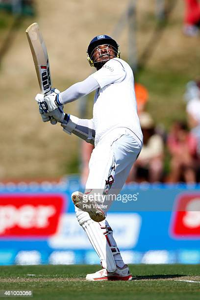 Kumar Sangakkara of Sri Lanka bats during day two of the Second Test match between New Zealand and Sri Lanka at Basin Reserve on January 4 2015 in...