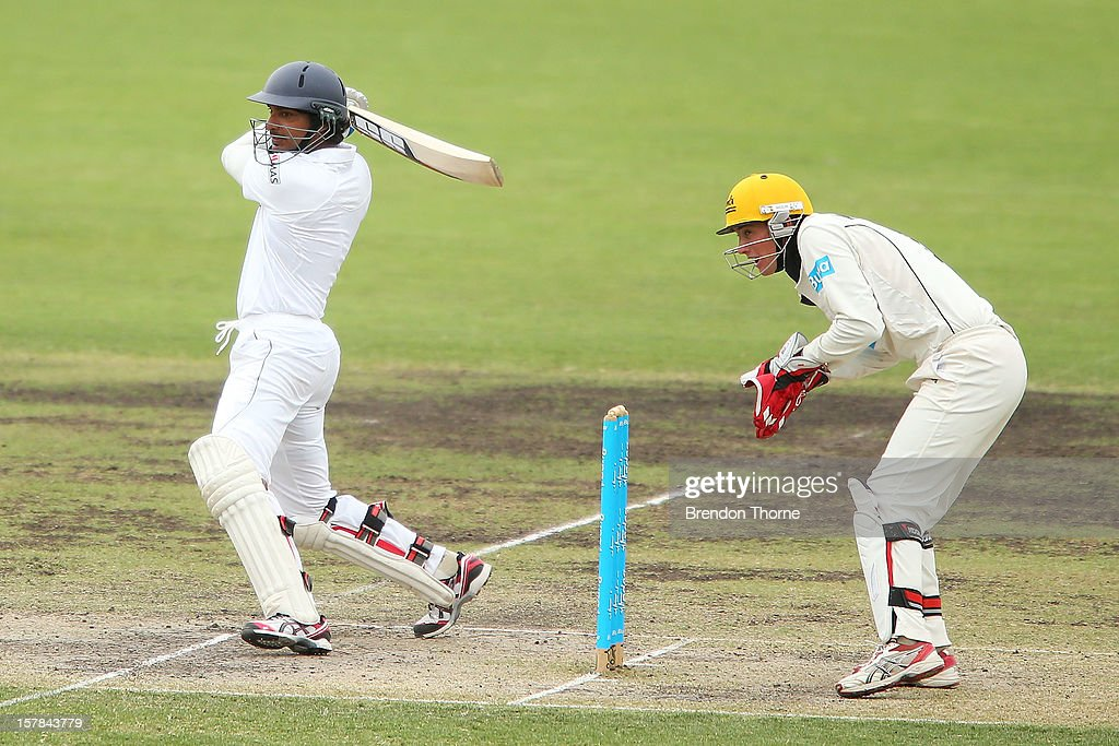 <a gi-track='captionPersonalityLinkClicked' href=/galleries/search?phrase=Kumar+Sangakkara&family=editorial&specificpeople=206804 ng-click='$event.stopPropagation()'>Kumar Sangakkara</a> of Sri Lanka bats during day two of the international tour match between the Chairman's XI and Sri Lanka at Manuka Oval on December 7, 2012 in Canberra, Australia.