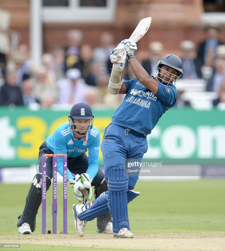 <a gi-track='captionPersonalityLinkClicked' href=/galleries/search?phrase=Kumar+Sangakkara&family=editorial&specificpeople=206804 ng-click='$event.stopPropagation()'>Kumar Sangakkara</a> of Sri Lanka bats during the 4th Royal London One Day International match between England and Sri Lanka at Lord's Cricket Ground on May 31, 2014 in London, England.