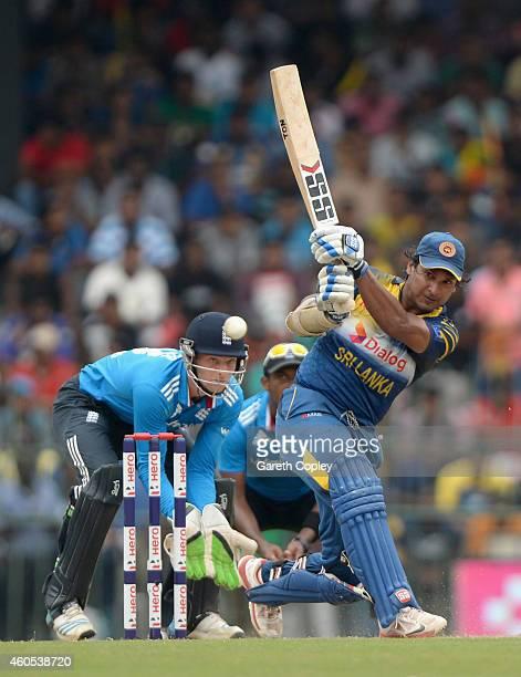 Kumar Sangakkara of Sri Lanka bats during the 7th One Day International match between Sri Lanka and England at R Premadasa Stadium on December 16...