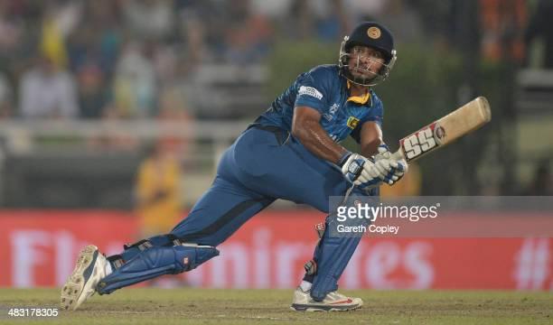 Kumar Sangakkara of Sri Lanka bats during the ICC World Twenty20 Bangladesh 2014 Final between India and Sri Lanka at ShereBangla Mirpur Stadium on...