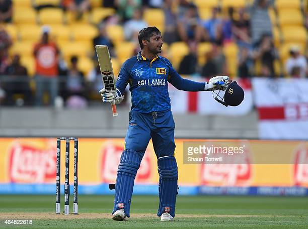 Kumar Sangakkara of Sri Lanka celebrates after reaching his century during the 2015 ICC Cricket World Cup match between England and Sri Lanka at...