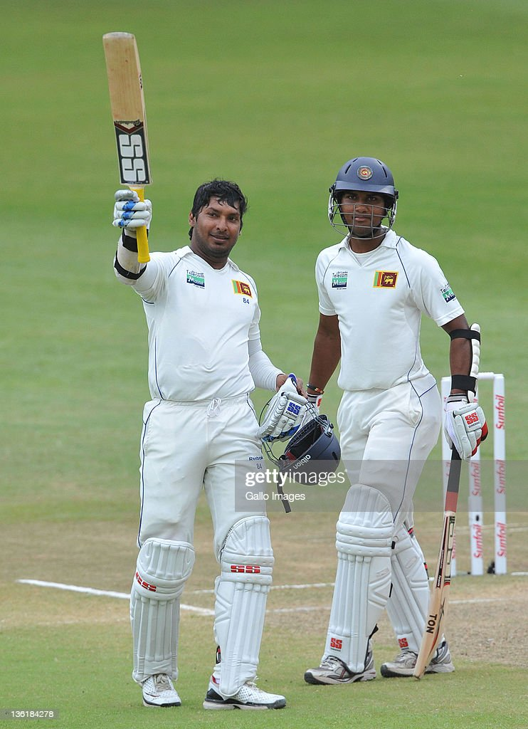 <a gi-track='captionPersonalityLinkClicked' href=/galleries/search?phrase=Kumar+Sangakkara&family=editorial&specificpeople=206804 ng-click='$event.stopPropagation()'>Kumar Sangakkara</a> of Sri Lanka celebrates his 100 runs during day 3 of the 2nd Sunfoil Test match between South Africa and Sri Lanka at Sahara Park Kingsmead on December 28, 2011 in Durban, South Africa.