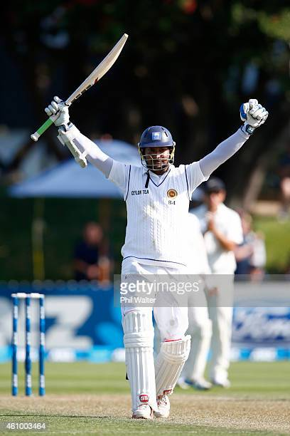 Kumar Sangakkara of Sri Lanka celebrates his 200 runs during day two of the Second Test match between New Zealand and Sri Lanka at Basin Reserve on...