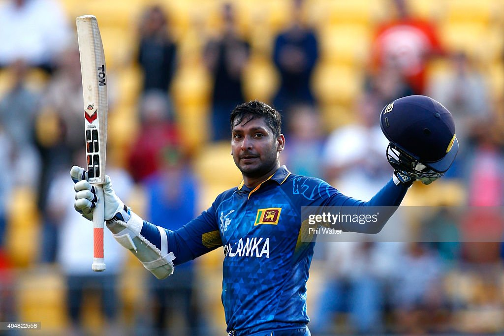 <a gi-track='captionPersonalityLinkClicked' href=/galleries/search?phrase=Kumar+Sangakkara&family=editorial&specificpeople=206804 ng-click='$event.stopPropagation()'>Kumar Sangakkara</a> of Sri Lanka celebrates his century during the 2015 ICC Cricket World Cup match between England and Sri Lanka at Wellington Regional Stadium on March 1, 2015 in Wellington, New Zealand.