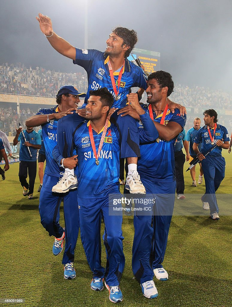 Kumar Sangakkara of Sri Lanka celebrates his team's win over India after the ICC World Twenty20 Bangladesh 2014 Final between India and Sri Lanka at Sher-e-Bangla Mirpur Stadium on April 6, 2014 in Dhaka, Bangladesh.