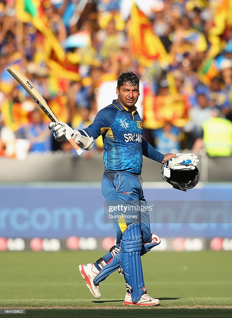 <a gi-track='captionPersonalityLinkClicked' href=/galleries/search?phrase=Kumar+Sangakkara&family=editorial&specificpeople=206804 ng-click='$event.stopPropagation()'>Kumar Sangakkara</a> of Sri Lanka celebrates reaching his century during the 2015 ICC Cricket World Cup match between Sri Lanka and Bangladesh at Melbourne Cricket Ground on February 26, 2015 in Melbourne, Australia.